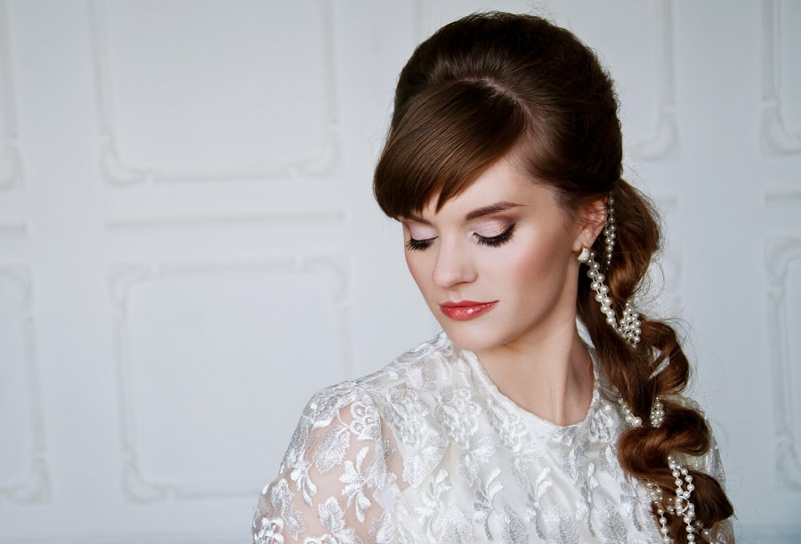long wedding hairstyle with bangs