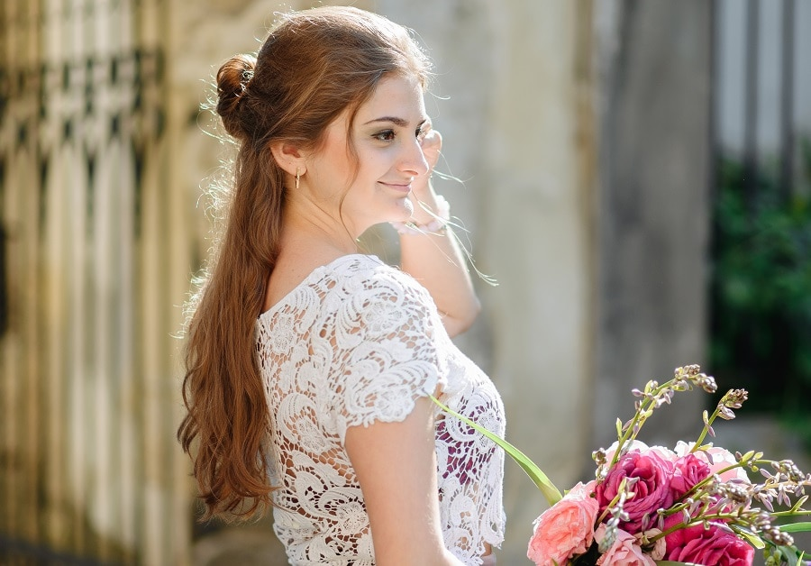 half up wedding hairstyle for long hair
