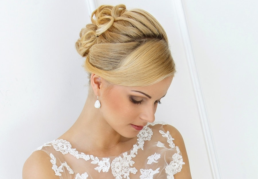 wedding updo with long blonde hair
