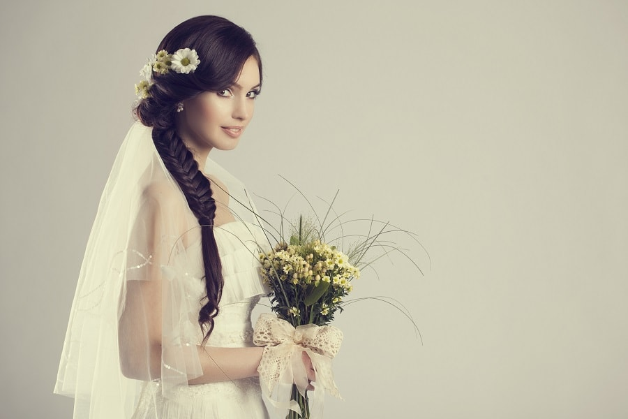 wedding hairstyle for long hair with veil