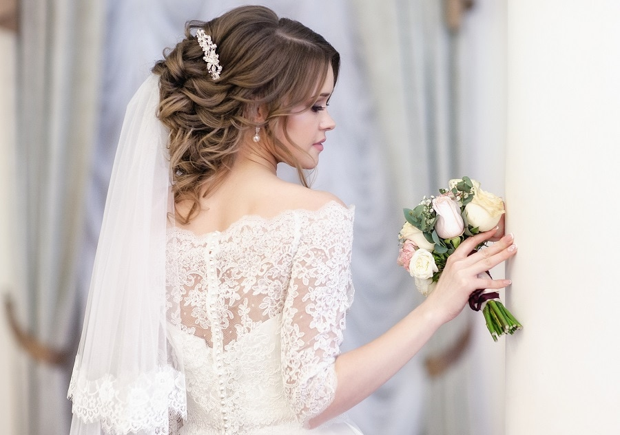 wedding updo with veil on top