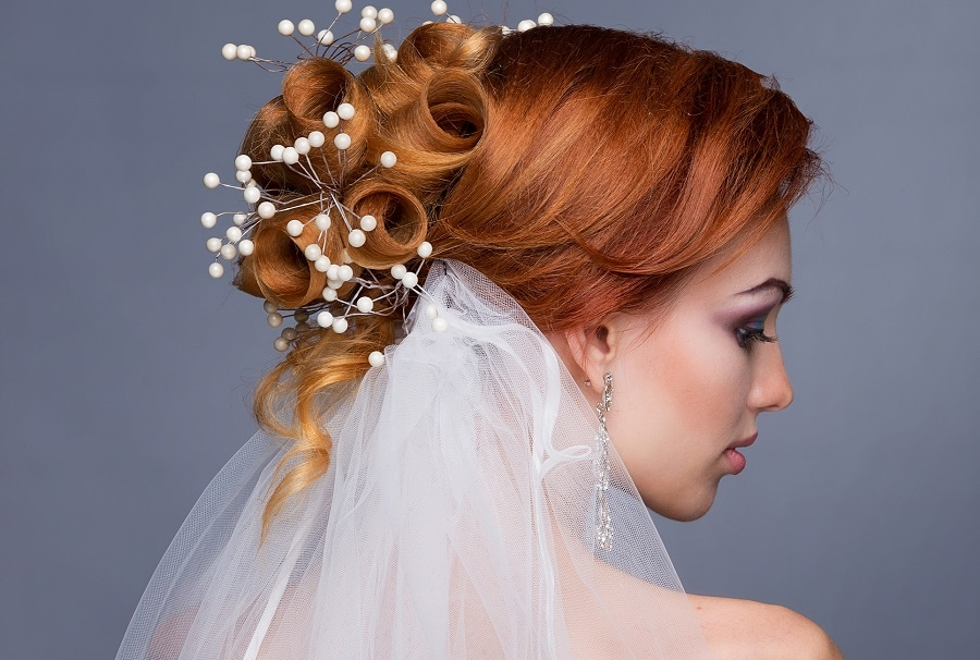 wedding bridal hairstyle with veil