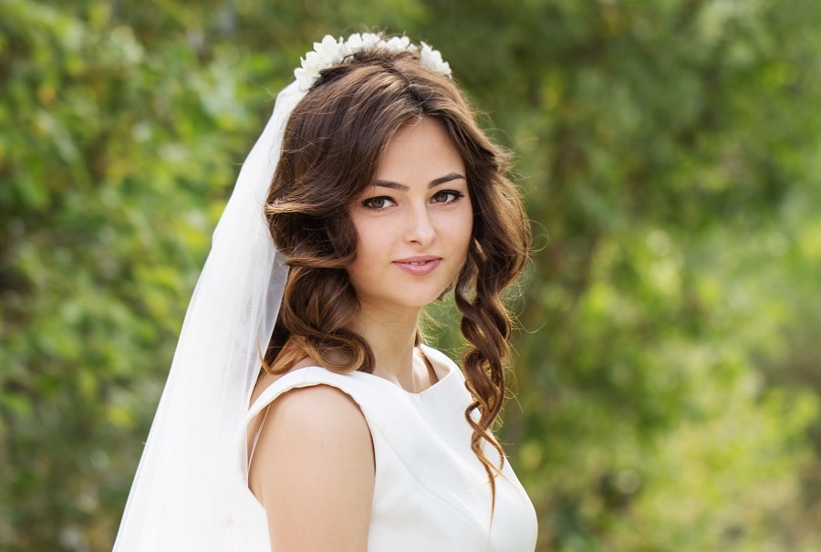 half up wedding hairstyle with veil