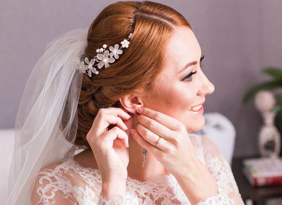 wedding bun hairstyle with veil