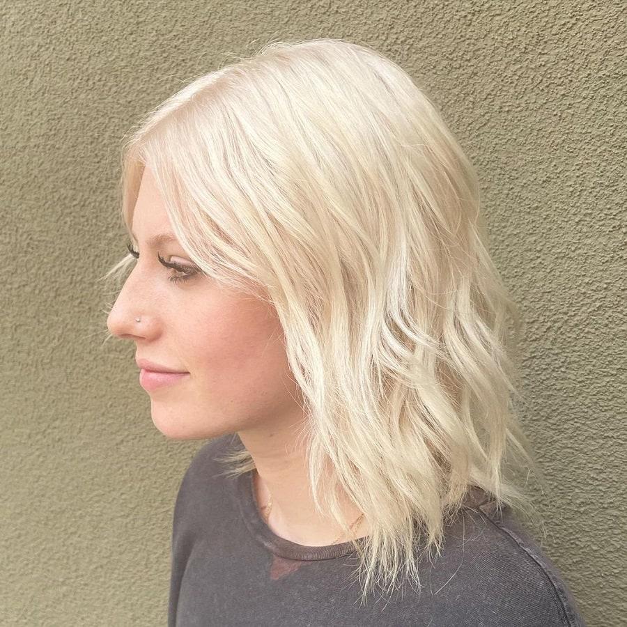 medium platinum blonde hair with choppy bob