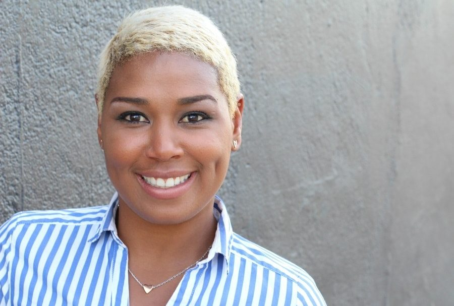 short blonde pixie for round face black woman