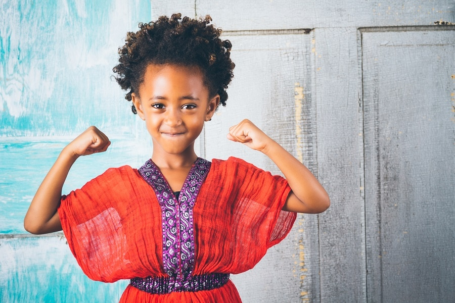 black kid with short curly hair