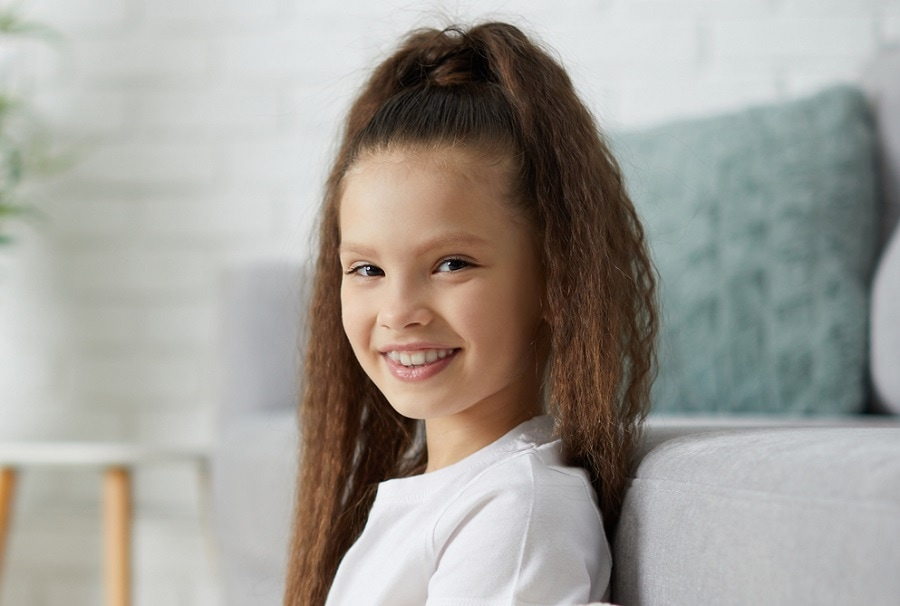 long curly ponytail for kids