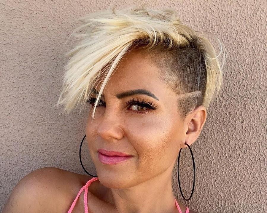 blonde edgy pixie cut with undercut