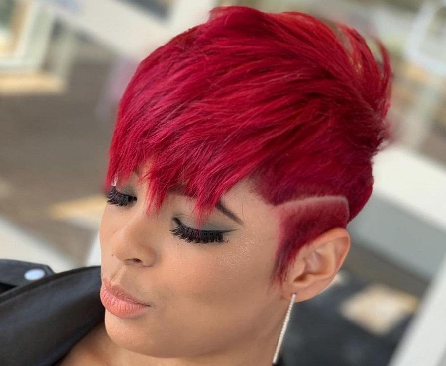 edgy burgundy pixie cut