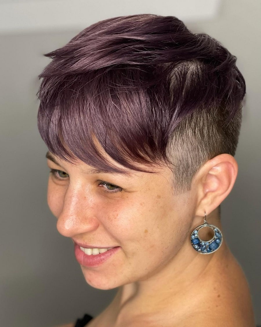 dark purple edgy pixie cut