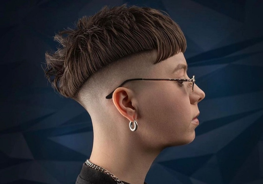 edgy pixie cut with shaved side