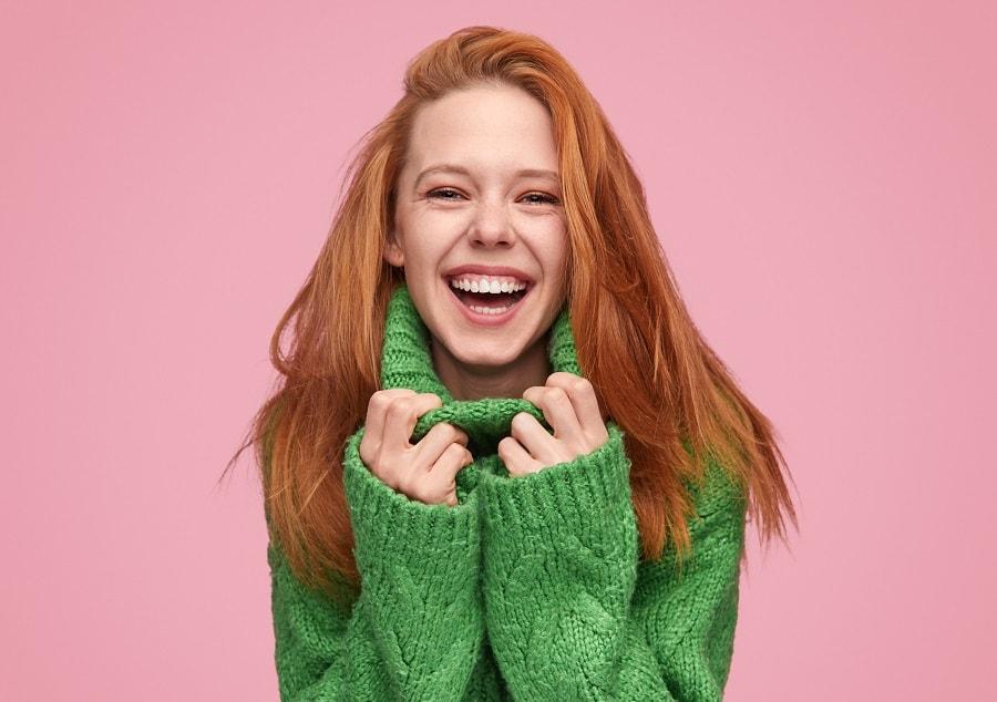 girl with long ginger fine hair