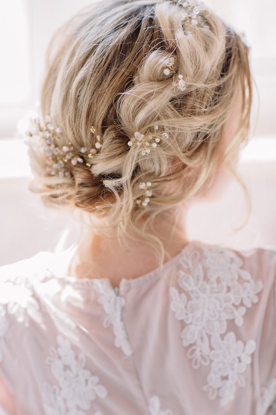 wedding updo with long fine hair