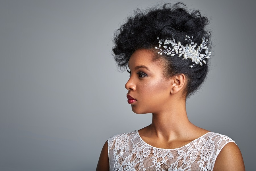black woman with wedding updo