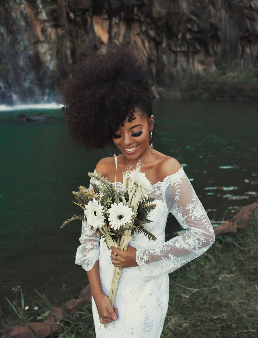 black woman wedding hairstyle with updo