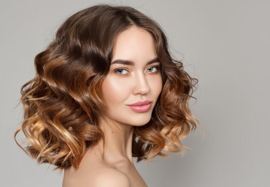 medium curly ombre hair