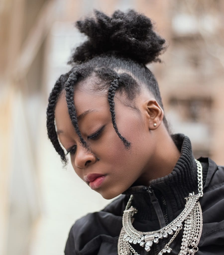 black woman with short braid hairstyles