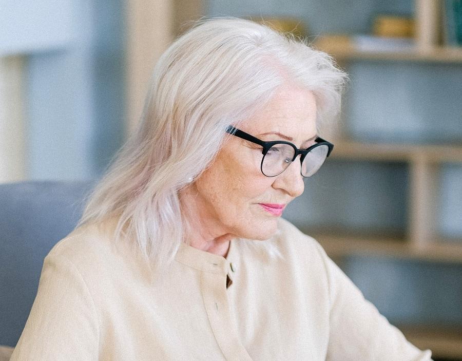 older woman with medium hair