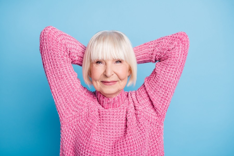 platinum bob with bangs for older woman