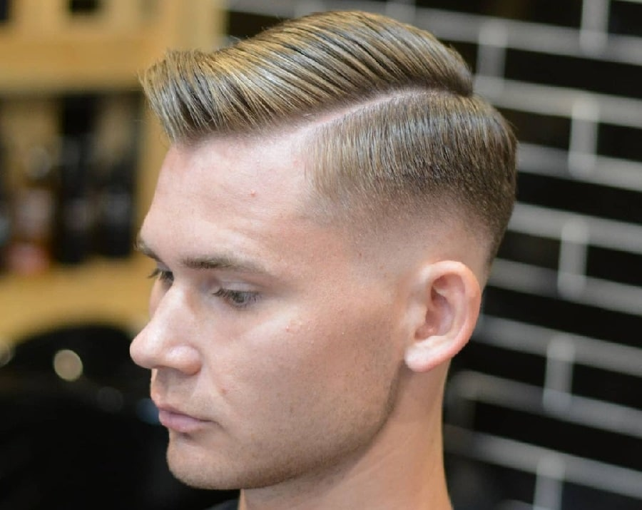 side part blonde hairstyle with fade