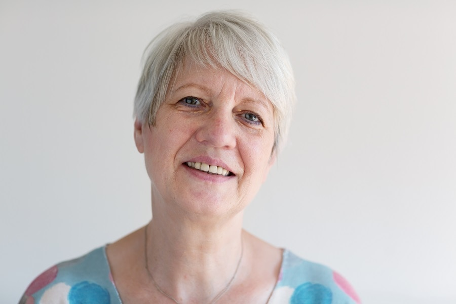 woman over 50 with short fine hair