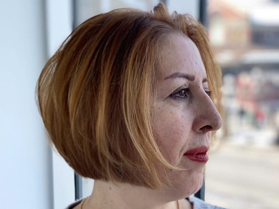 thick bob cut for older woman