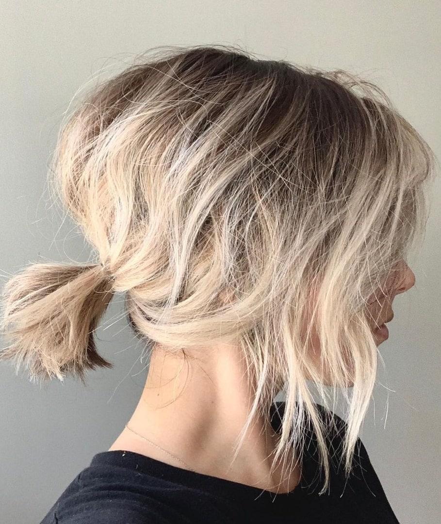 messy short hair ponytail